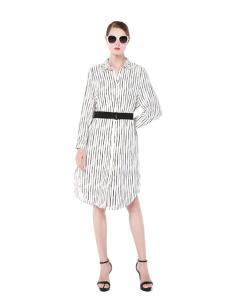 2017例格新款条纹连衣裙
