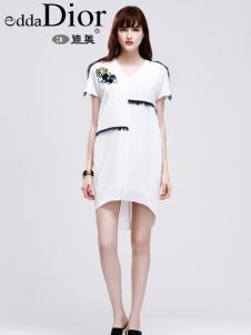 迪奥夏17新款白色时尚连衣裙