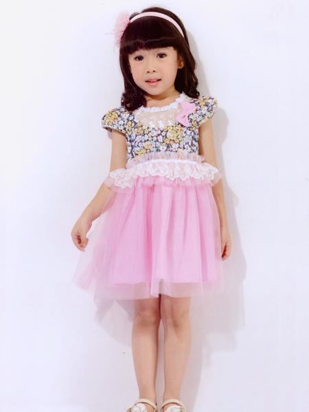 的纯童装粉色印花蓬蓬裙