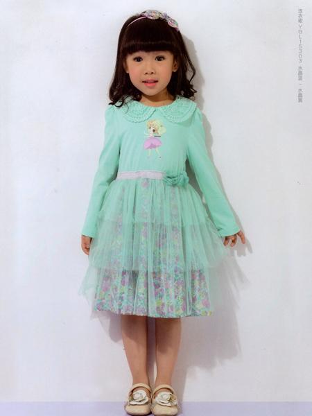 的纯童装绿色印花A字蓬蓬裙
