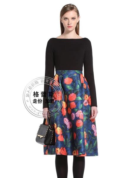 格蕾斯春夏印花时尚中裙