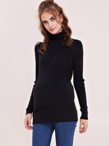 摩登妈咪女装黑色高领孕妇装