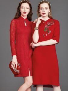 mubo木帛女装红色收腰修身女裙