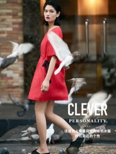 T&W17夏新款红色连衣裙