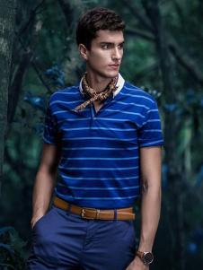 M&D名盾2017春夏新品蓝色条纹T恤