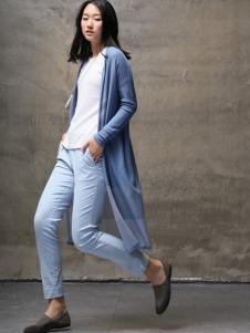 墨曲2017春夏新品蓝色拼接外罩衫