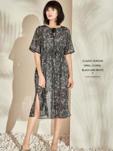 T&W17新款时尚印花雪纺连衣裙