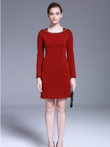 爱为女装红色X版修身连衣裙