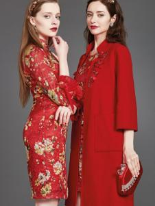 mubo木帛女装红色印花旗袍