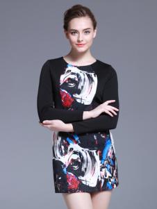 爱为女装黑色印花长袖连衣裙