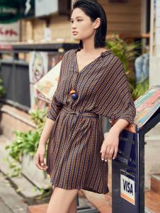 T&W17新款民族风复古连衣裙
