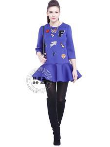 格蕾斯紫色印花A字连衣裙