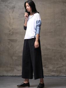 墨曲2017春夏新品黑色阔腿裤