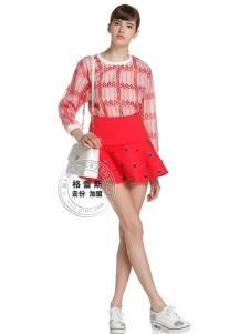格蕾斯红色印花百褶半裙