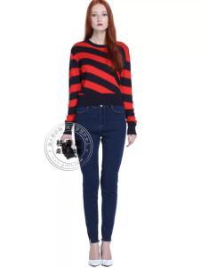 格蕾斯红黑条纹长袖T恤