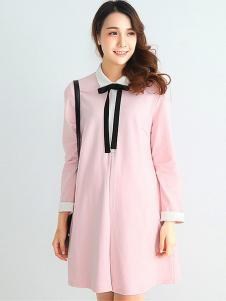 摩登妈咪女装粉色孕妇裙