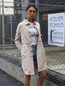 莫卡欧女装2017新品米白色外套