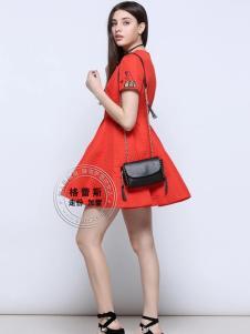 格蕾斯红色修身A字连衣裙