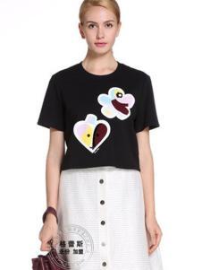 格蕾斯黑色短袖印花T恤