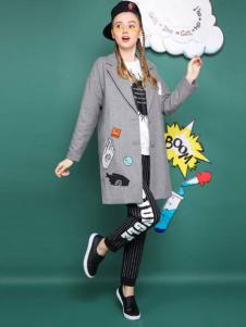 MGGM木果果木女装灰色长外套