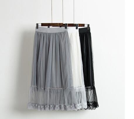 新款高腰显瘦雪纺百褶网纱半身裙批发