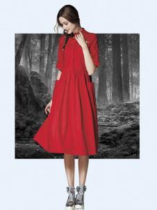 楚阁女装红色修身中袖连衣裙