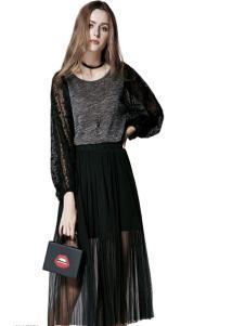 楚阁女装黑色拼接假两件连衣裙