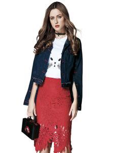 楚阁女装红色蕾丝包臀裙