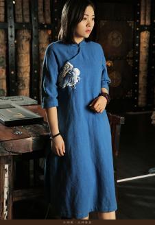 木棉道蓝色长款旗袍式长裙