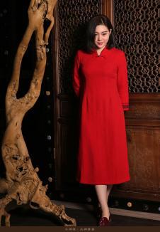 木棉道红色收腰长裙