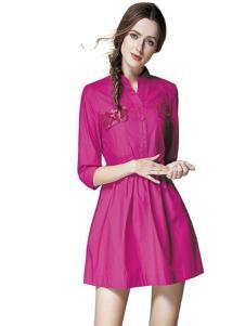楚阁女装玫红色时尚连衣裙