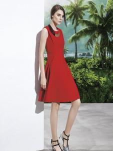 楚阁女装红色无袖A字连衣裙