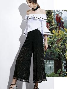 楚阁女装黑色蕾丝九分阔腿裤