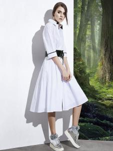 楚阁女装白色衬衣款连衣裙