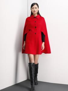 倪迩麦女装红色斗篷大衣