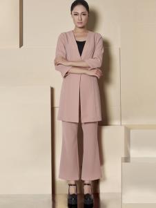 纽方2017春夏新品粉色微喇叭裤
