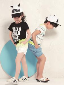 Hello child童装字母印花黑色T恤