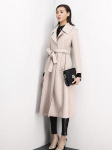 倪迩麦女装米色带腰带长大衣