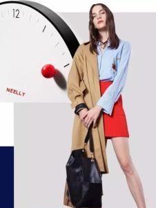 NEELLY纳俪2017春夏新品蓝色衬衫