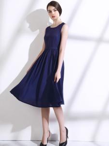 歐若朵爾2017春夏新品寶藍色連衣裙