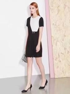 诺兰贝尔女装黑白间色连衣裙
