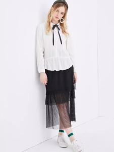 OSANI欧尚尼2017春装新品黑色纱裙