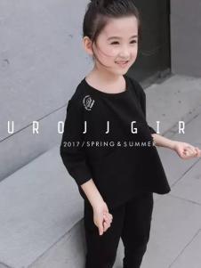 欧恰恰童装2017春装新品黑色套装