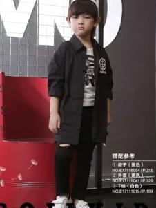 欧恰恰童装2017春装新品黑色中长款衬衫