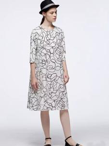 OUDIFU欧蒂芙2017春夏新品几何连衣裙
