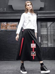 欧E女装欧E2017春夏新品黑色长半裙