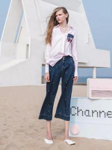 PEOLEO飘蕾2017春装粉色衬衫