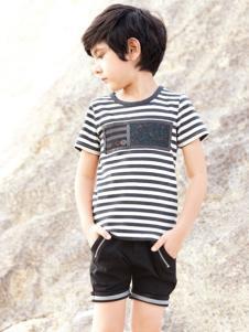 帕纳摩亚童装条纹T恤