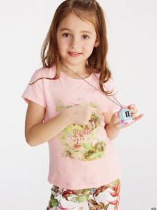 小猪班纳女小童17夏新款甜美t恤