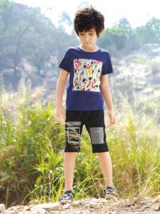 帕纳摩亚童装蓝色印花T恤